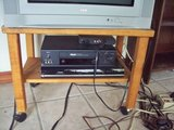Natural wood tv stand on wheels in Westmont, Illinois