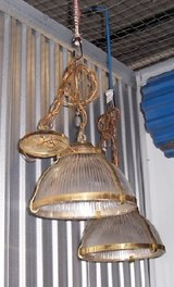 Beautiful Glass & Brass Hanging Entrance Light in Westmont, Illinois