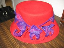 100% Wool red hat with purple detail in Fort Benning, Georgia
